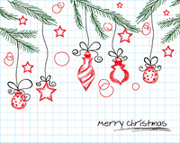 cartoon christmas background vector illustration