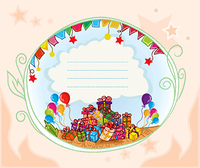 gifts with balloons vector illustration