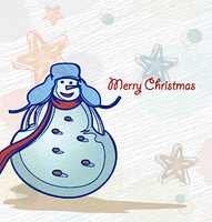 vector winter background with snowman