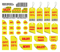 vector shopping tags and stickers set