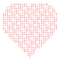 heart made of text