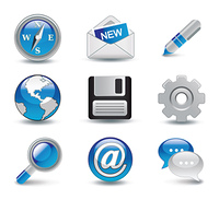 glossy icons set vector illustration