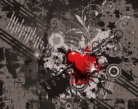 vector heart with grunge background