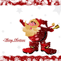 christmas greeting card with santa vector illustration