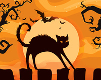 halloween background with cat vector illustration