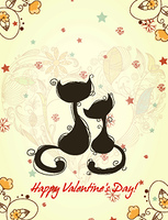 vector valentine's day background with cats