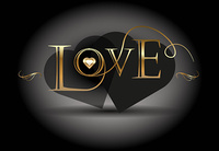 Love poster. Golden calligraphic vector
