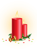 Christmas background with red candle and golden ribbon