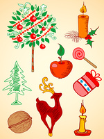 doodle hand drawn Christmas  elements for design