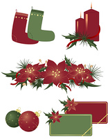 Christmas icons and beautiful elements for decoration
