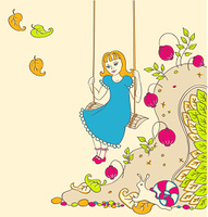 background with a little girl on a swing