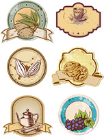 set of hand drawn vector food and drink  labels