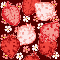 red vector strawberry seamless pattern