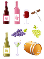 Glossy wine and grapes icon set