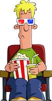 Cartoon man in 3d glasses, vector illustration