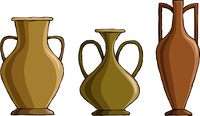 Three amphora on a white background, vector
