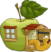 The worm in the apple house, vector illustration