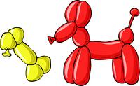 Balloon dog with a bone, vector illustration