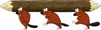 Cartoon beavers have a log, vector illustration