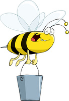 Bee on a white background, vector illustration