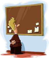 A man looks at a bulletin board, vector