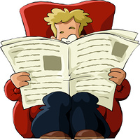 A man in a chair reading a newspaper, vector
