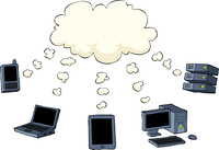 Cloud computing is on a white background, vector