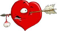 Cartoon heart with an arrow, vector illustration