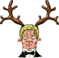 A man with antlers on his head, vector