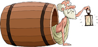 Diogenes looks out of the barrel, vector