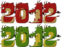 New 2012 dragon on a white background, vector