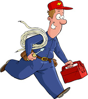 Electrician runs with the tools vector illustration