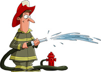 Firefighter pours from a fire hose, vector