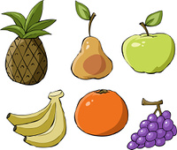 Fruit on a white background, vector illustration