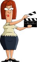 Cartoon girl with a clapboard, vector illustration
