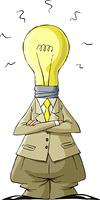 Cartoon light bulb head man, vector illustration
