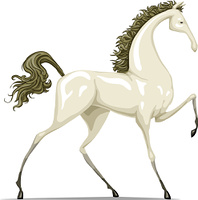 The white horse on a white background, vector