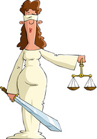 Justice on white background, vector illustration