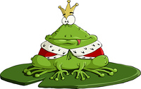 The frog king on a white background, vector