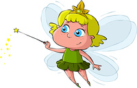 Little Fairy on a white background, vector