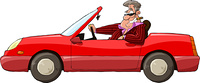 A man in a red car vector illustration