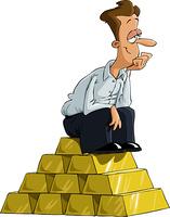 A man sitting on a gold bullion, vector