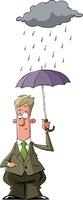 A man under an umbrella in the rain, vector