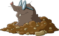 A mole wearing glasses and a hole, vector