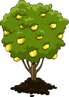 Money tree on a white background, vector
