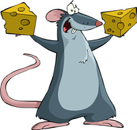 Mouse on a white background, vector illustration