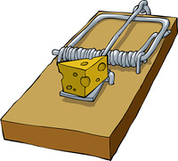 Mousetrap on a white background vector illustration