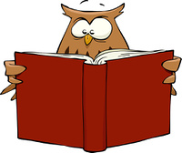 Cartoon owl reading a book, vector illustration
