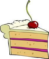 Piece of cake with cherry, vector illustration