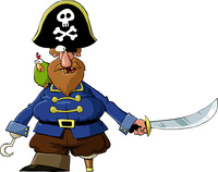 Pirate on a white background, vector illustration